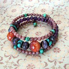 Rustic gemstone bracelet beadwork wrap by TheEclecticBohemian