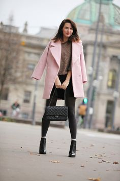 Pink coat, Chanel 2.55 bag / clutch, pink sweater