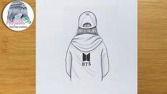 Easy Hand Drawings, Drawings On Lined Paper, Easy Drawings Sketches, Easy Drawings For Beginners, Space Drawings, Girl Drawing Sketches, Kpop Drawings, Cartoon Girl Drawing, Cute Drawings
