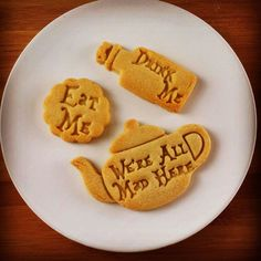 Alice in the Wonderland drink me inspired cookies cutters | Through the Looking Glass we are all mad here biscuits cutter one of a kind ooak