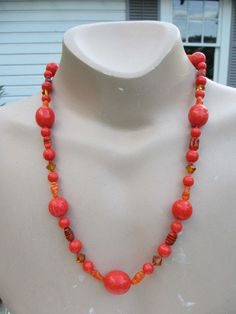 Vintage Glass & Bakelite Beaded Necklace with Clip Earrings #Unbranded