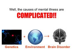 Well, the causes of mental illness are   COMPLICATED!! Genetics Environment + -> Brain Disorder