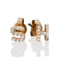 Letters By Zoe 14k Gold Diamond Initial Stud Earrings