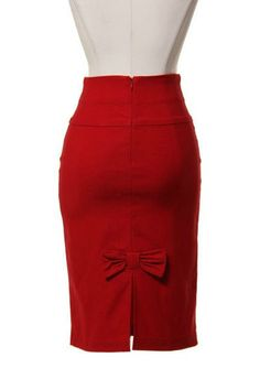 Topped with a Bow Pencil Skirt - Red | Tailor and Stylist