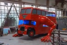 ARTIST MAKES A LONDON DOUBLE DECKER BUS DO PUSHUPS—Artist transforms a classic icon of British culture into a mechanical athlete, just in time for the Olympics.