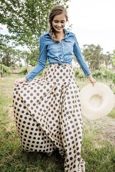 Denim shirt and sweet Polkadot skirt | La Beℓℓe ℳystère