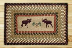 Moose/Pine ConePrint Patch Hand Printed Rug