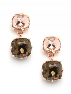 Sand Dune Drops...Swarovski Crystals in Smoky Topaz and Rich Brown..Set In Rose Gold Tone...beautiful <3