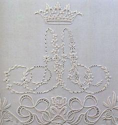 Gorgeous—vintage embroidered monogram design—love the crown❣ Kristine • Flickr