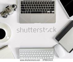 mockup of technology office equipment, flat lay