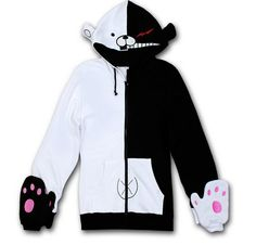 Danganronpa Dangan-Ronpa Mono Kuma black/white Bear Cosplay Costume Hoodie Jacket