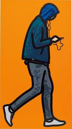 Julian Opie, Man in the rain with ipod, Vinyl on wooden stretcher; 87 × 48 in. Marilyn Minter, Modern Art, Contemporary Art, Art Postal, Mexican Revolution, Diego Rivera, Love Art, Installation Art, Saturday Club