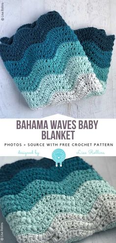Subtle Crochet Blankets Free Patterns Bahama Waves Baby Blanket Free Crochet Pattern The post Subtle Crochet Blankets Free Patterns appeared first on Knit Diy. Motifs Afghans, Afghan Crochet Patterns, Crochet Stitches, Knitting Patterns, Crochet Wave Pattern, Baby Afghans, Crochet Crafts, Free Crochet, Knit Crochet