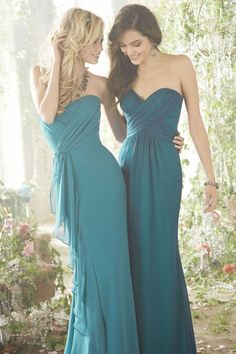 blue and green bridesmaids