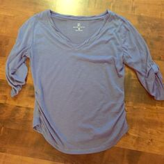 New York & Company periwinkle blue 3/4 sleeve top Size medium and is in perfect condition :) buttons up to 3/4 sleeves :) New York & Company Tops Blouses