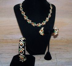Vintage Jewelry Set Coro Green Orange Amber Rhinestones Gold Tone Necklace Earrings Bracelet Gift