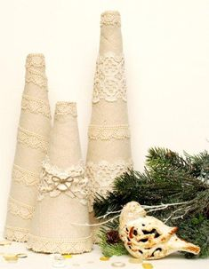 Linen Lace Topiary Trees featuring Beverly from Flamingo Toes {Handmade Holiday Project No. Lace Christmas Tree, Christmas Holidays, Christmas Decorations, Christmas Ideas, Christmas Presents For Girls, Christmas Favors, Christmas Projects, Holiday Ideas, Vintage Christmas