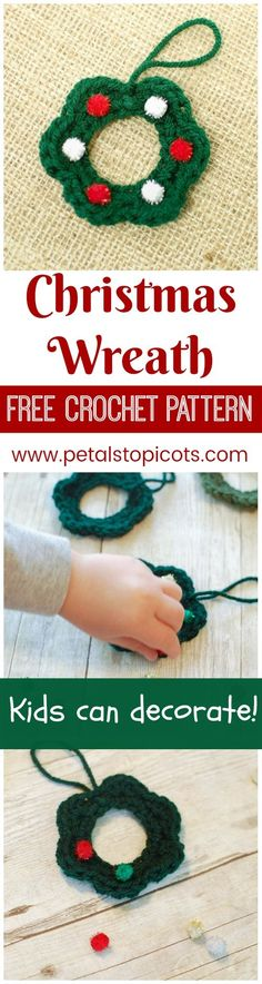 These little crochet wreaths are such a quick and easy project and are a great opportunity to get the kids involved in holiday crafting and gift giving. You crochet 'em up and let the kids take it from there! By Petals to Picots
