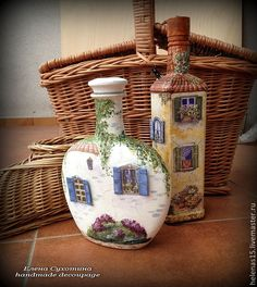 Step-by-Step Guide to - sise - Glass Bottle Crafts, Wine Bottle Art, Bottles And Jars, Glass Bottles, Bottle House, Jar Art, Decoupage Art, Altered Bottles, Paperclay