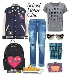 """School house chic"" by thebagtique on Polyvore featuring Marc Jacobs, 7 For All Mankind, Sundry, Converse, Vera Bradley, Chucks, backpacks and bomberjackets"