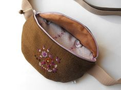 fanny pack  brown light purple needle felted dotted by toritextil, $30.00