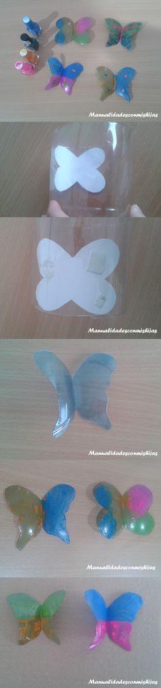 Mariposas hechas con botellas de plástico tipo resfresco y adornadas con pintauñas