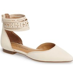 Main Image - Lucky Brand Madoz Ankle Strap Flat (Women) Strappy Flats, Ankle Strap Flats, Ankle Straps, Heels, Pizza Wedding, Leather Fashion, Womens Flats, Ballet Flats, Lucky Brand