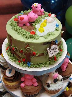Farm theme birthday cake Pretty Cakes, Cute Cakes, Farm Animal Cupcakes, Farm Cake, Novelty Cakes, Fancy Cakes, Creative Cakes, Celebration Cakes, Cakes And More