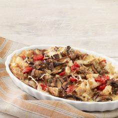 Breakfast Casserole with Turkey Sausage, Mushrooms, and Tomatoes. #recipe