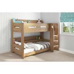 With a compact design that features built in shelving it saves on floor space, giving your little ones plenty of room to play. The bed has built in shelving, which is a great alternative to bedside tables and much safer for the top bunk. Bed Storage, Storage Shelves, Shelving, Oak Bunk Beds, Loft Beds, Toddler Rooms, Spare Room, Kids Bedroom, Bedroom Ideas