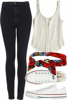 Black leggings white tank top white converse and a red hair band