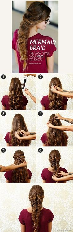 Mermaid braid hair styles. Start with an easy plait and thread hair through! Easy messy stylish glam hairstyles!