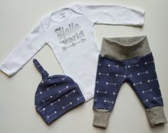 Baby Boy Newborn Take Home Outfit. Hello by mainegirlcreations