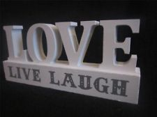 Love Live Laugh Wood Word Cube Block Letters Home Shabby Decor Ornament Chic