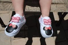 Hand Painted MINNIE MOUSE shoes by sweetfeetbybrit on Etsy, $35.00