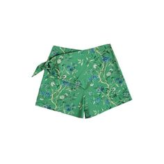 Samantha Pleet Green Wallpaper Curtain Shorts ($149) ❤ liked on Polyvore featuring shorts, floral sash belt, cotton shorts, print shorts, hot shorts and floral print shorts