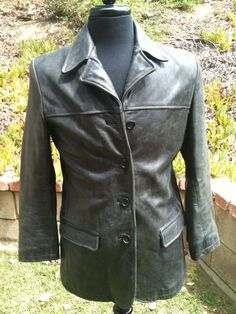 Your place to buy and sell all things handmade Blazer Fashion, Leather Fashion, Designer Leather Jackets, Classic Style, Black Leather, Ship, Coat, Sleeves, How To Wear