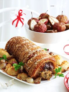 How good does this pork crackling look!  This Good Taste recipe for Roast Pork with Pistachio Stuffing and Hasselback Potatoes will make sure you have perfectly crisp crackling on your Christmas roast.