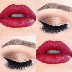 Bella combinación de maquillaje de boca y ojos.