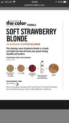 Reddish Blonde Hair, Red Balayage Hair, Paul Mitchell Hair Products, Paul Mitchell Color, Hair Color Formulas, Blonde Haircuts, Hair Color Techniques, Strawberry Blonde Hair, Color Me Beautiful