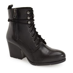 """Matisse 'Abbey' Lace-up Bootie, 2 1/2"""" heel ($159) ❤ liked on Polyvore featuring shoes, boots, ankle booties, black, ankle combat boots, lace up bootie, black lace up boots, combat boots and black lace up bootie"""