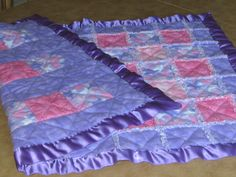 Easy make soft baby blanket with satin trim that I made for my grandaughter in 2009.