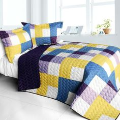 Purple Feelings Vermicelli Quilted Patchwork Quilt Set in Full/Queen Size Comforter Sets, Bedding, Queen Quilt, Room Dimensions, Easy Quilts, Quilt Sets, Bed Covers, Good Night Sleep, Quilting Projects