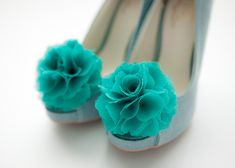 Teal green-Set of 2,Chiffon flower shoe clips for bridal wedding-Choose your Color