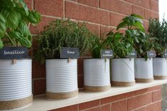 Upcycling tin cans to create your very own herb garden - The Handy Mano Balcony Herb Gardens, Small Herb Gardens, Outdoor Gardens, Herb Planters, Planter Pots, Tin Can Garden Ideas, Painted Tin Cans, Paint Cans, Herb Garden Pallet