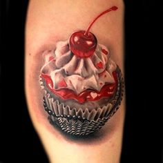 Photo Realistic cupcake tattoo #cupcake #tattoo #tattoos