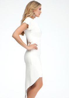 Draped Asymmetric Dress White 3