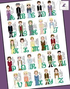 Jane Austen inspired Character Alphabet Cross Stitch pattern - PDF Pattern - INSTANT DOWNLOAD by FangirlStitches on Etsy https://www.etsy.com/listing/255037566/jane-austen-inspired-character-alphabet