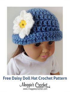 Doll Hat Free Crochet Pattern from Maggie's Crochet.