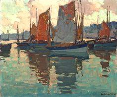 Edgar Payne (1883-1947). The Harbor, Douarnenez, France, Oil on Canvas, 20 x 24 in.